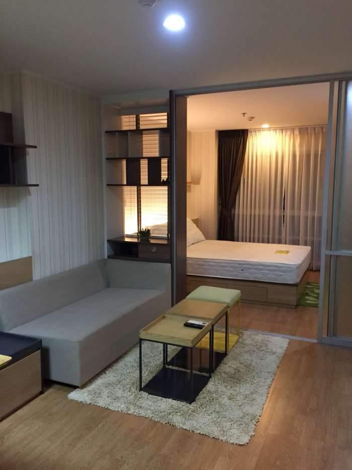 ให้เช่าคอนโด U-Delight  HuayKwang station (ห้วยขวาง) fully furnished 1 ห้องนอน 34 ตรม. ตึก D  วิวสวนเงียบ พร้อมเฟอร์นิเจอร์